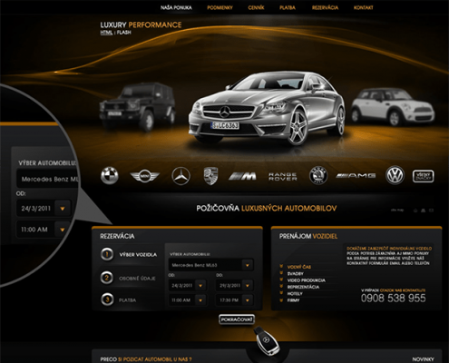 Luxury car rental - web design for car rental company